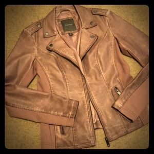 Maurices Faux Leather Moto Jacket in Dusty Pink
